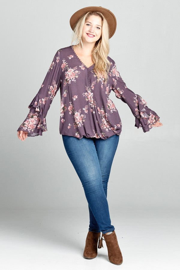 Stay With Me Floral Blouse in Lavender - Curvy - MIA Boutique LLC