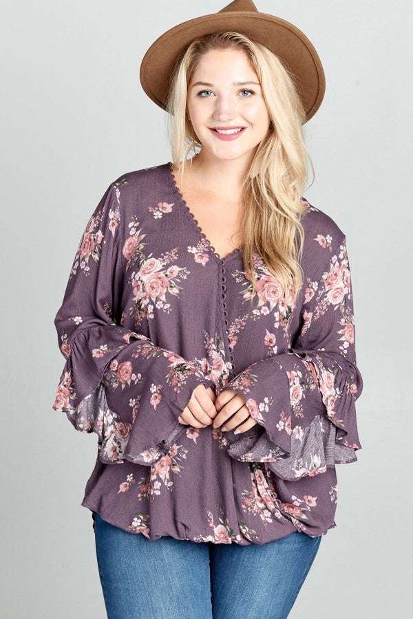 Stay With Me Floral Blouse in Lavender - Curvy - Top - MIA Boutique LLC