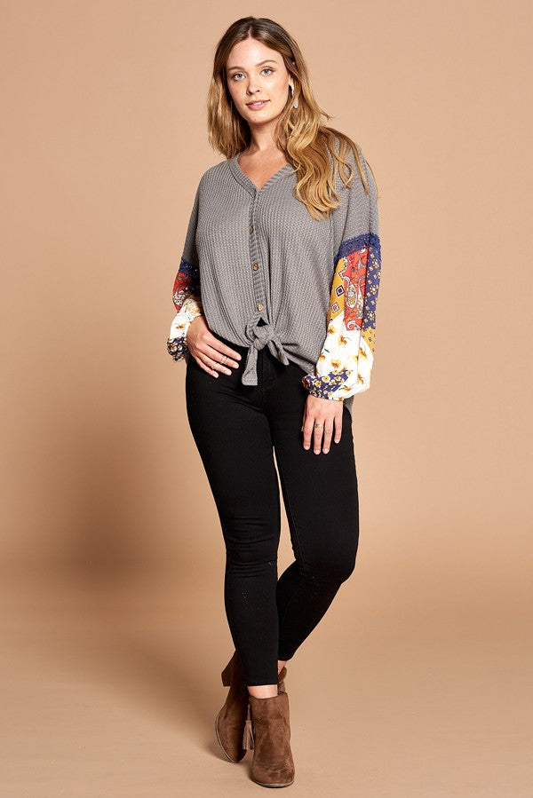 Pretty in Patchwork Tie Front Top in Grey - Curvy