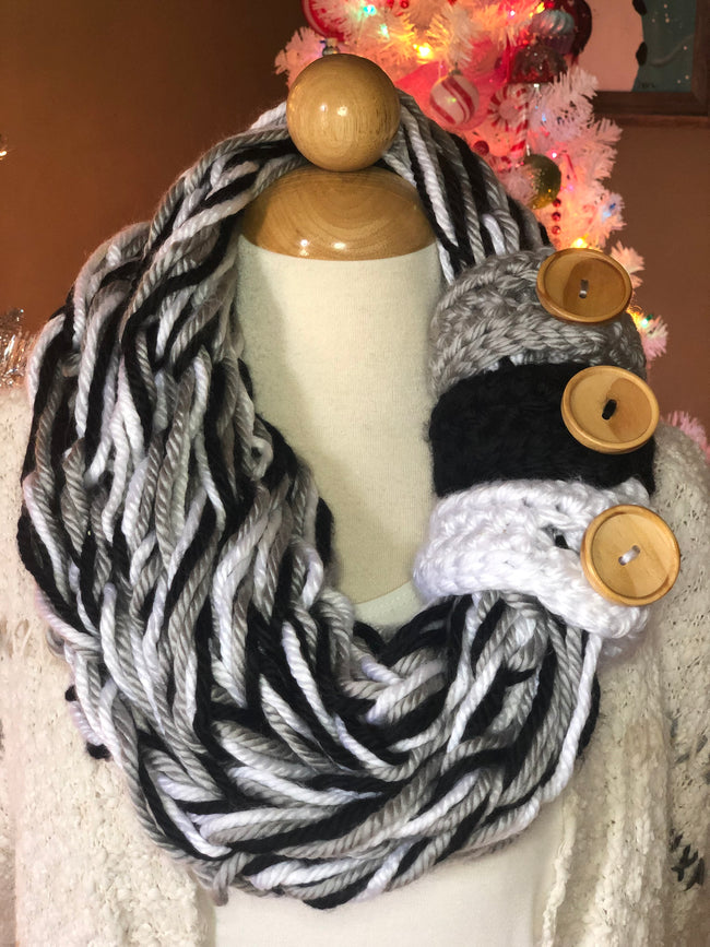 Allie Rose Three Button Infinity Scarf - Give Back Item