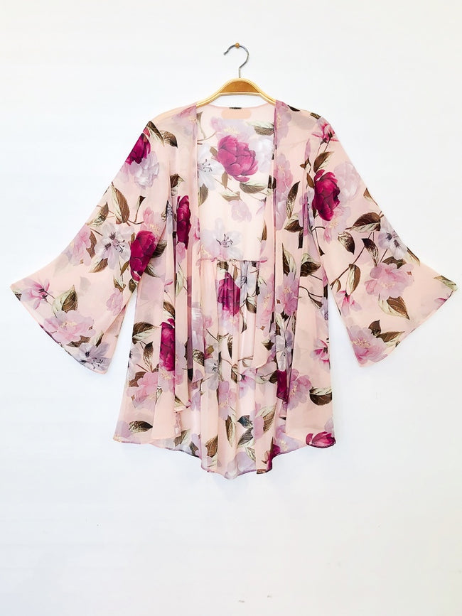Feeling Hopeful Floral Kimono in Cloud Pink - Give Back Item - MIA Boutique LLC