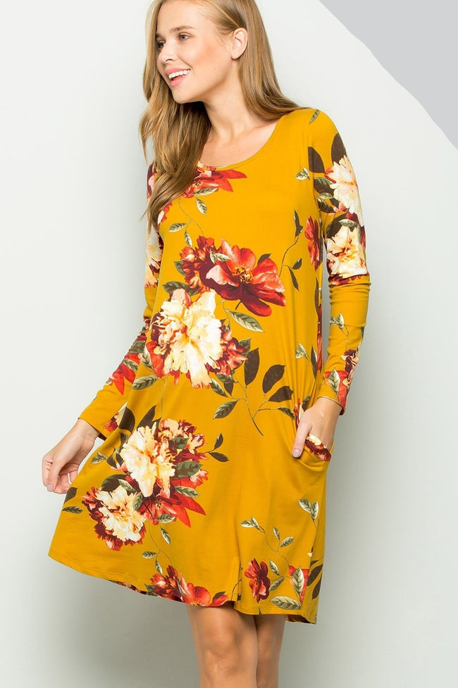 Round of Applause Floral Dress in Mustard - MIA Boutique LLC