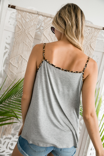 Wild Destinations Animal Print Tank in Heather Grey - Top - MIA Boutique LLC