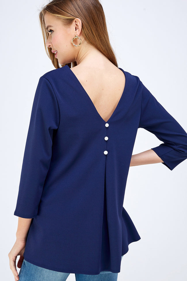 A Heart For The Classics Blouse in Navy - MIA Boutique LLC