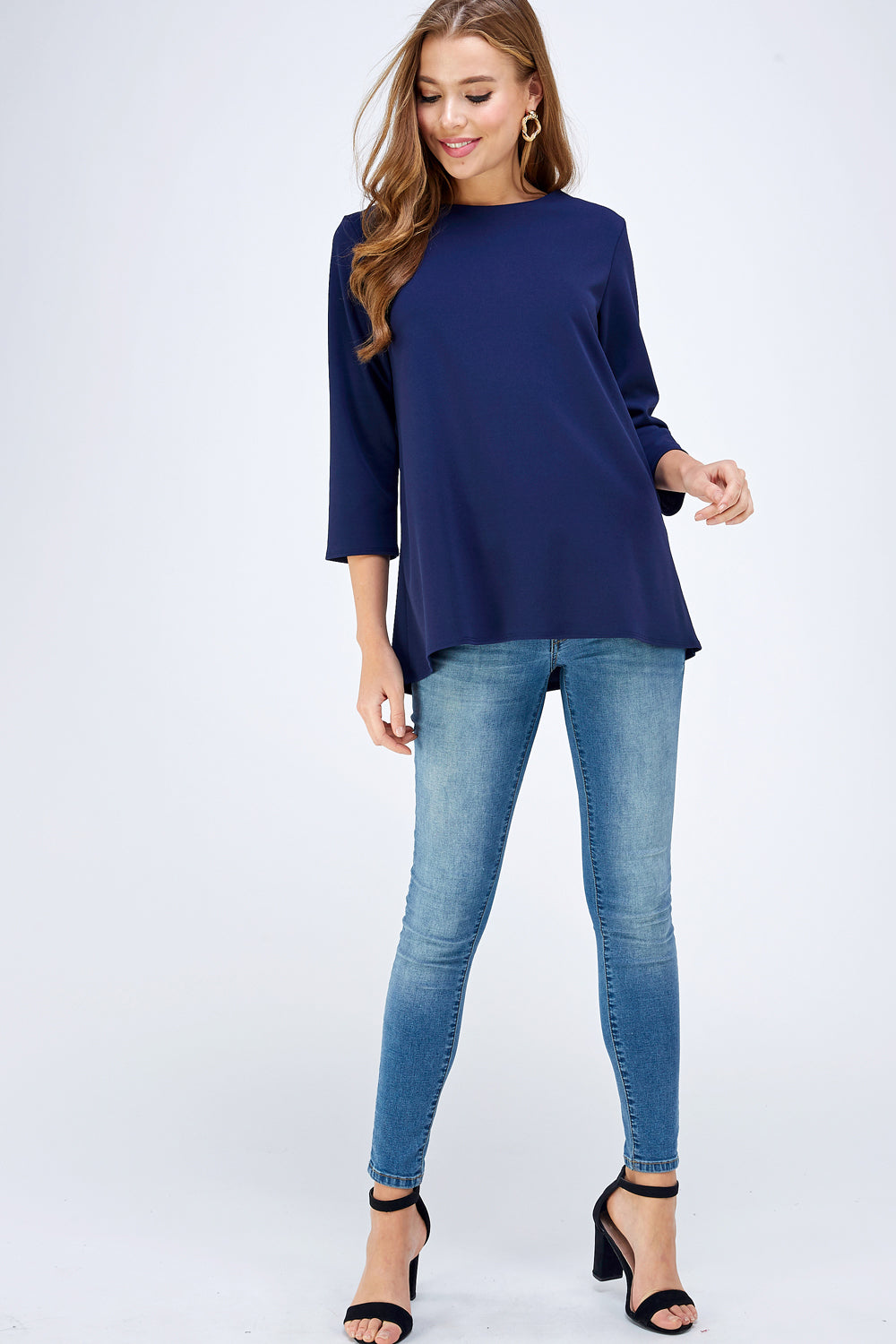 A Heart For The Classics Blouse in Navy - Top - MIA Boutique LLC