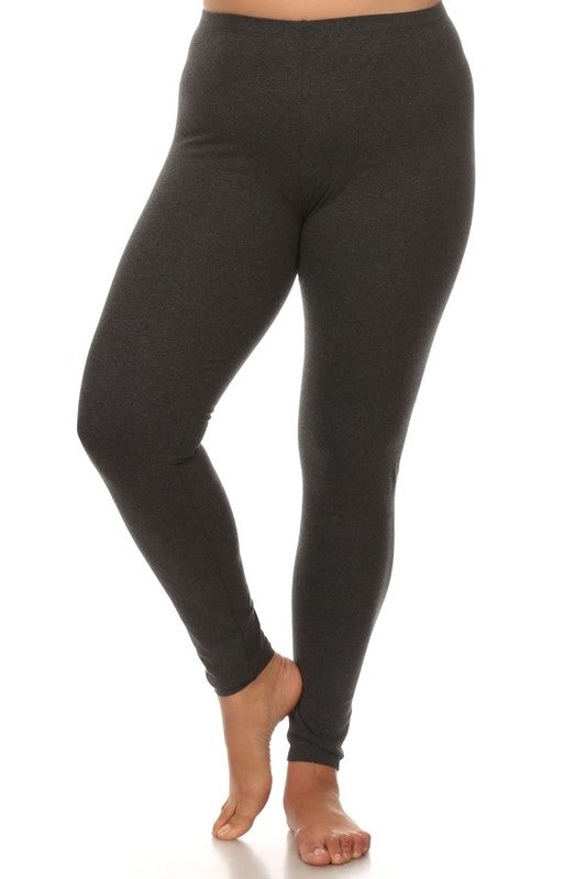 Curvy Basic Legging - Charcoal - Bottom - MIA Boutique LLC