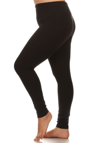 Fold Over Waist Band Leggings in Black - Curvy