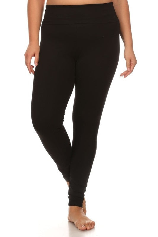 Fold Over Waist Band Leggings in Black - Curvy - Bottom - MIA Boutique LLC