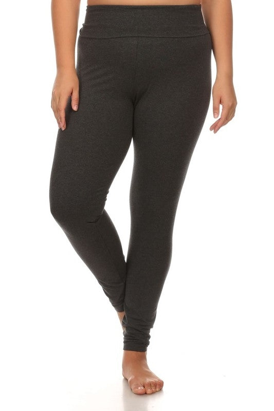 Fold Over Waist Band Leggings in Charcoal - Curvy - Bottom - MIA Boutique LLC