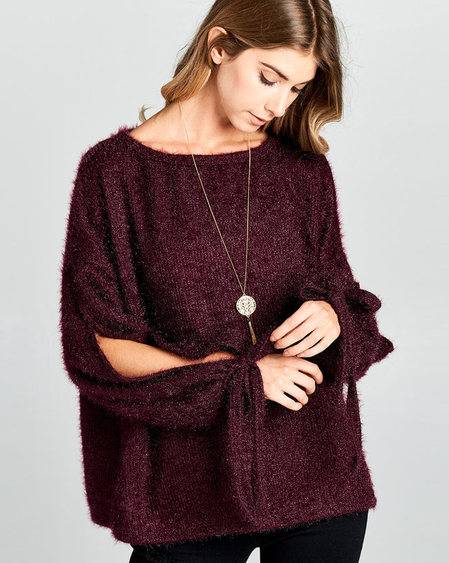 So Smitten Sweater in Cabernet - MIA Boutique LLC
