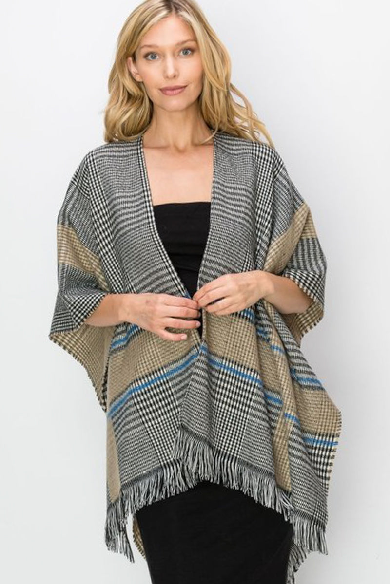 Birmingham Plaid Wrap in Khaki - Top - MIA Boutique LLC