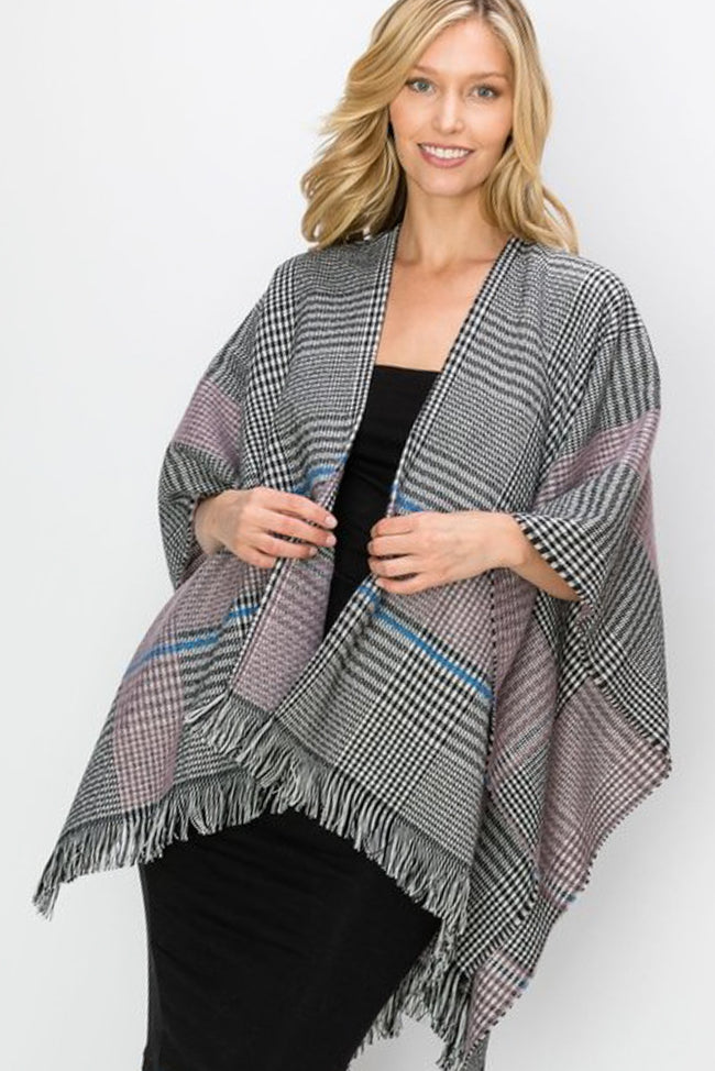Birmingham Plaid Wrap in Pink - Top - MIA Boutique LLC