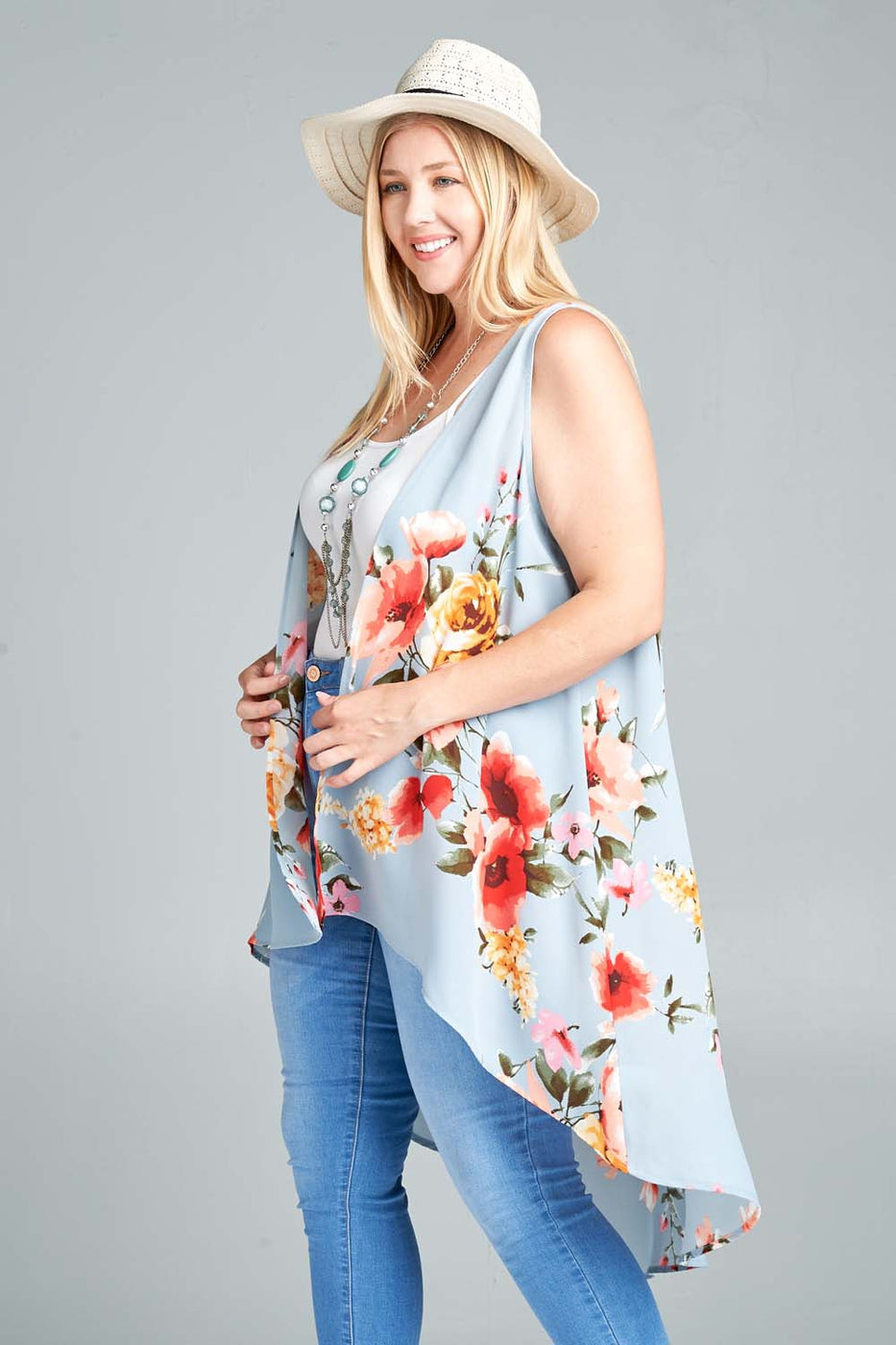 Talk of the Town Floral Vest - Women's - MIA Boutique LLC