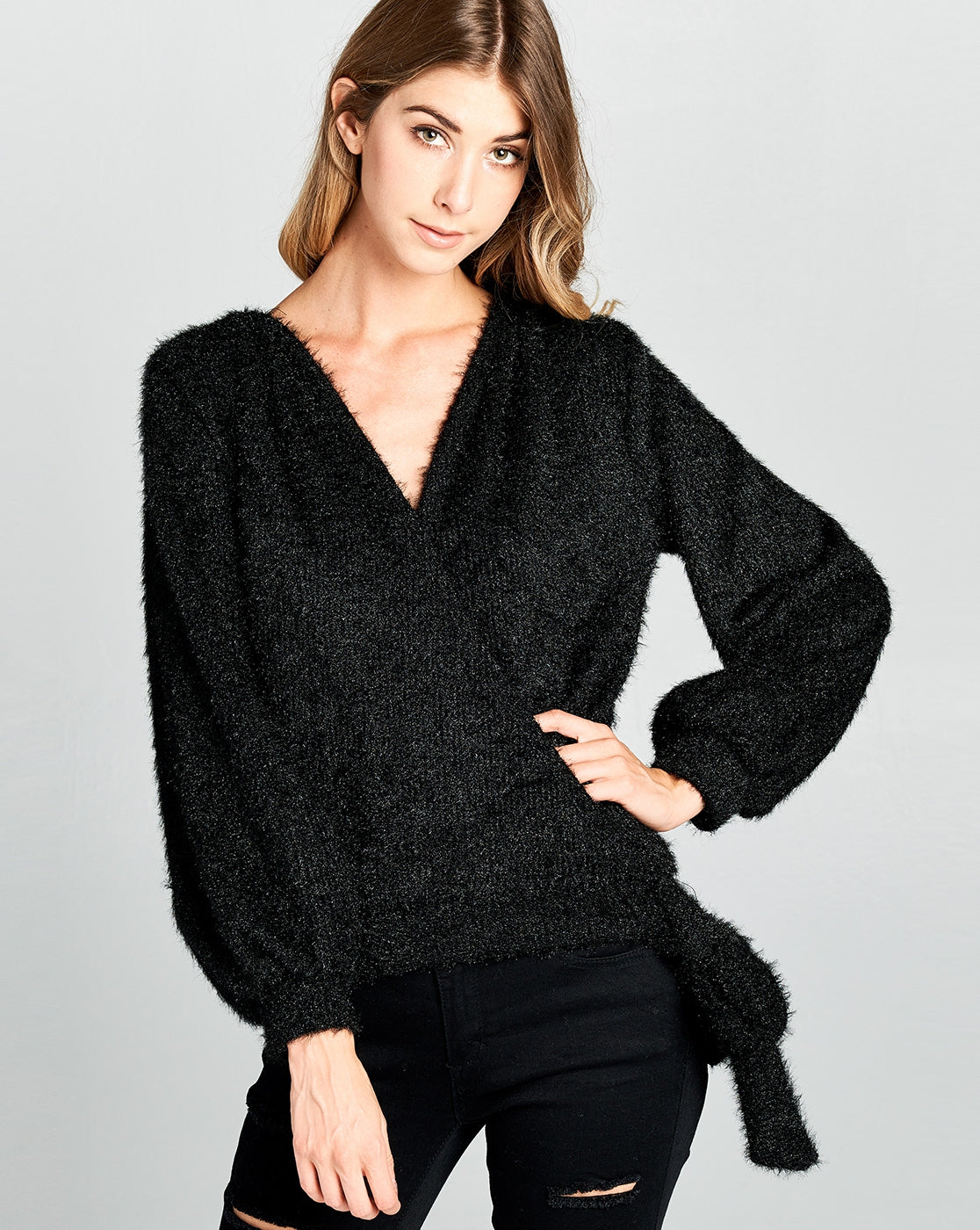 Let Yourself Shine Sweater in Black - MIA Boutique LLC