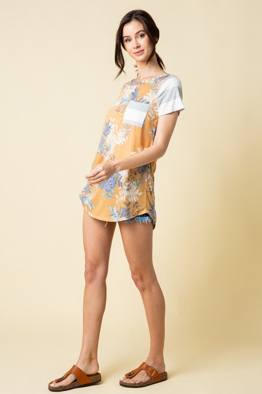 Flora and Fauna Tunic Tee in Mustard - Curvy - MIA Boutique LLC