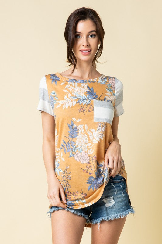 Flora and Fauna Tunic Tee in Mustard - Curvy - Top - MIA Boutique LLC