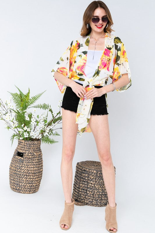 Bring On Summer Kimono in Yellow - MIA Boutique LLC
