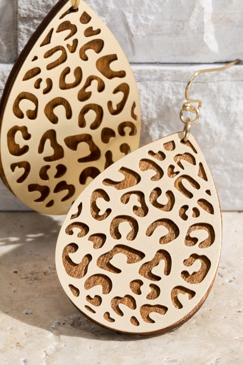 Chic Statement Leopard Earrings in Gold and Wood