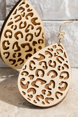 Cork Floral Marquis Earrings in Brown