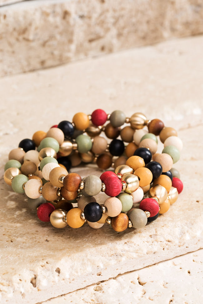 Road Trip Wood Bead Bracelet Set - Accessory - MIA Boutique LLC