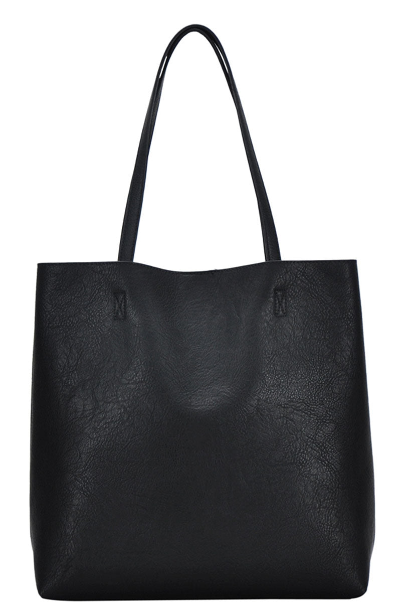 Heartland Vegan Leather 2-in-1 Tote - Black - Accessory - MIA Boutique LLC