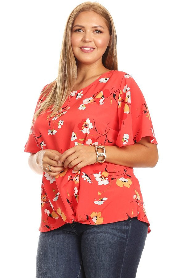Sweet Caroline Floral Blouse in Coral - Curvy - Top - MIA Boutique LLC