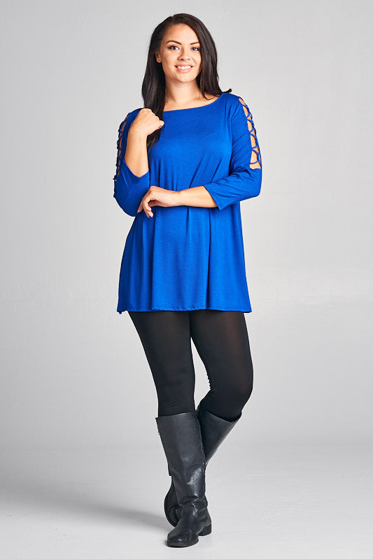 Ace Up My Sleeve in Curvy - Royal Blue - Top - MIA Boutique LLC