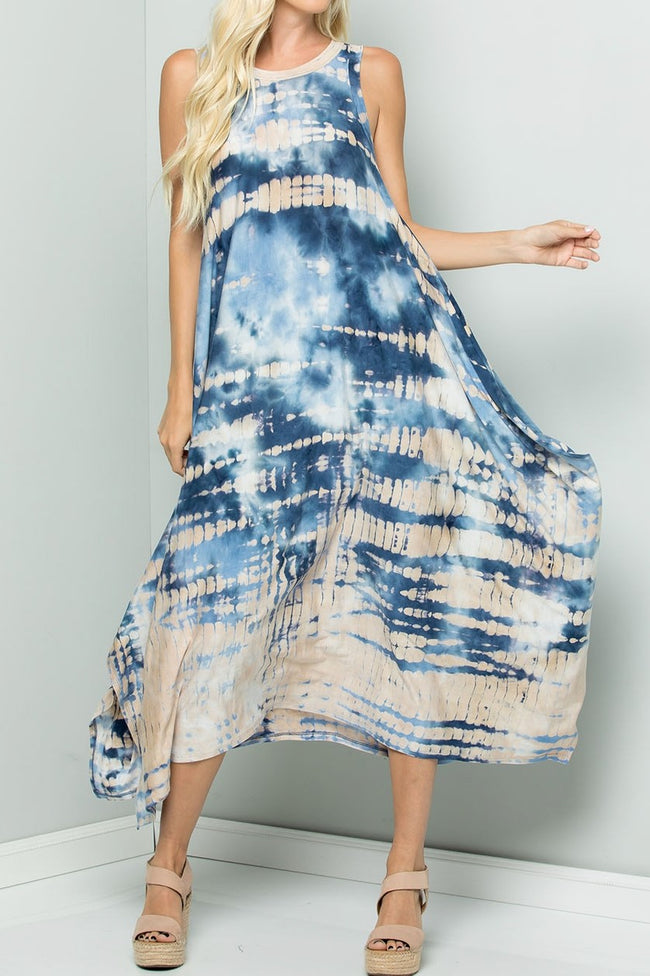 On Beach Time Tye Dye Maxi Dress in Denim Blue - Dress - MIA Boutique LLC