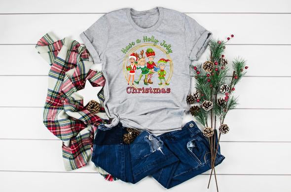 A Golden Christmas Tee in Grey - Curvy