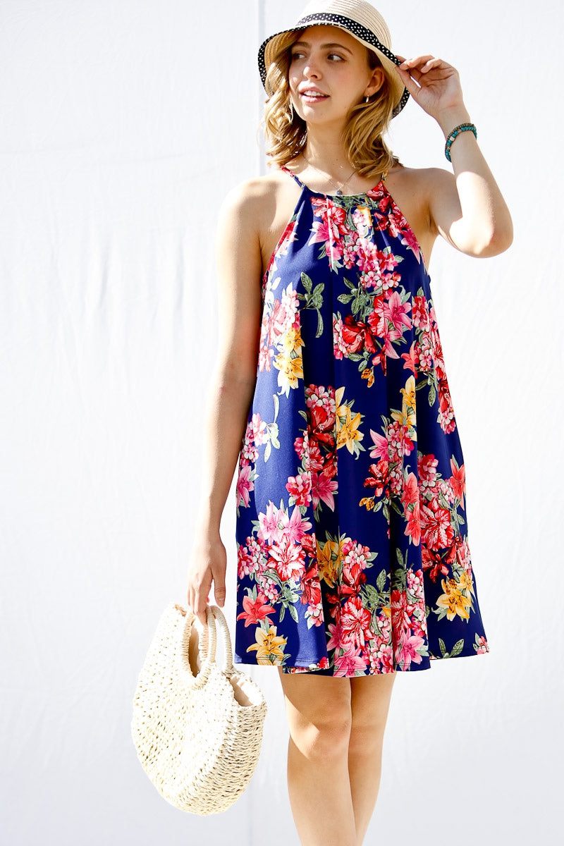 Lillies for the Win Floral Halter Dress in Navy - Dress - MIA Boutique LLC