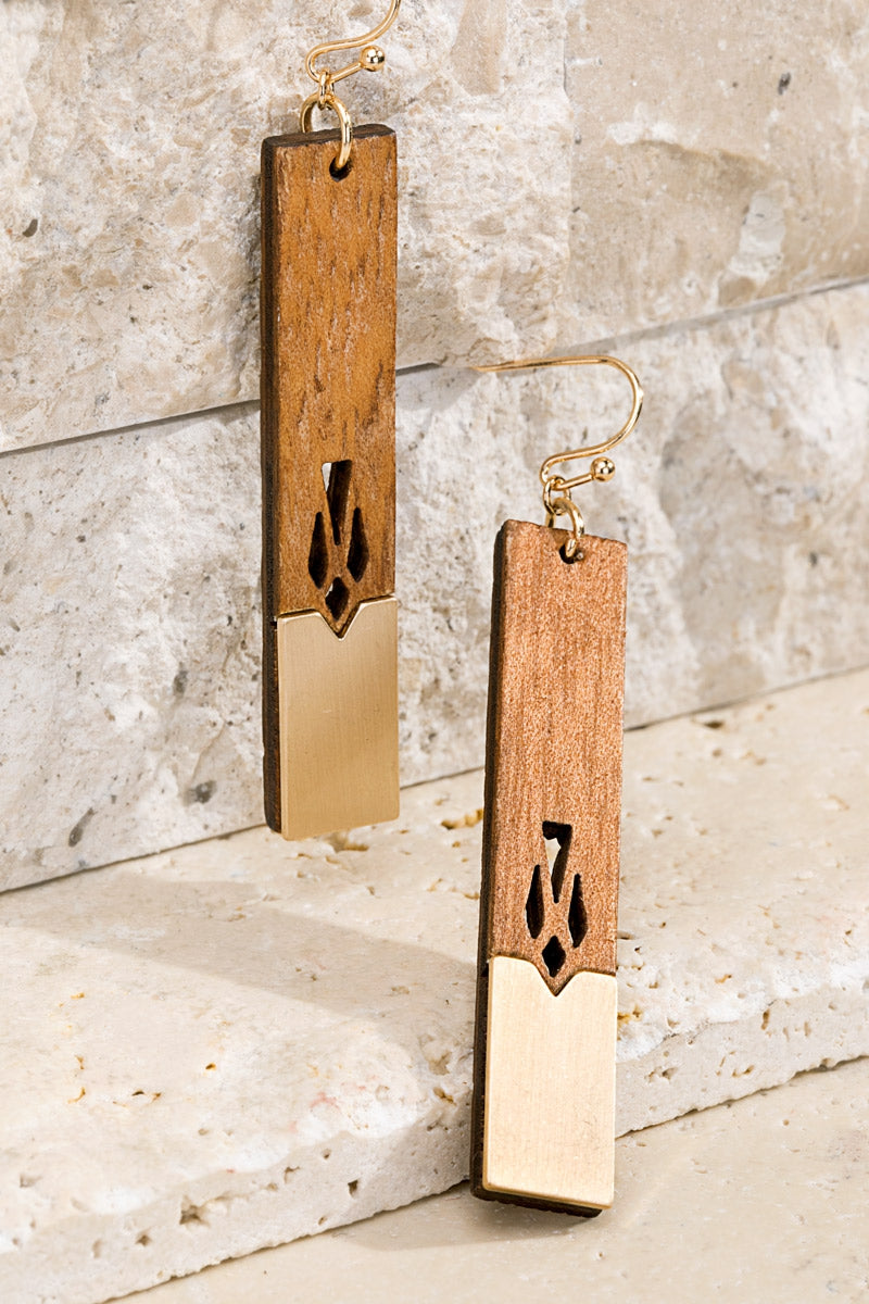 Waco Natural Wood Bar Earrings - Accessory - MIA Boutique LLC