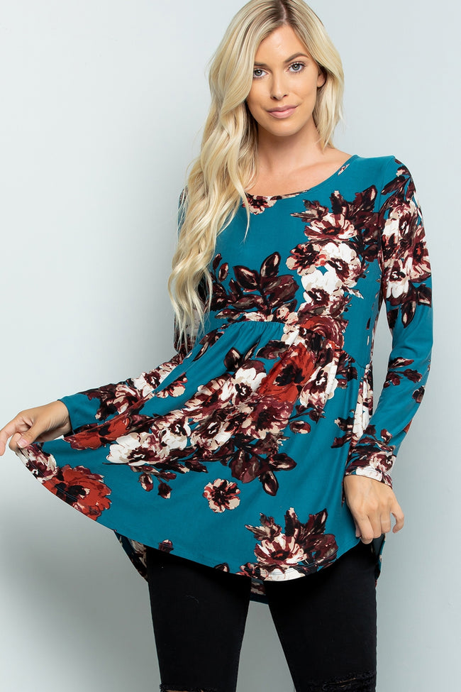 Fall Into Florals Babydoll Top in Teal - Curvy - MIA Boutique LLC