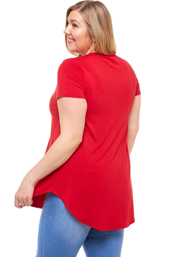 The Debbie Tunic in Red - Curvy - Top - MIA Boutique LLC