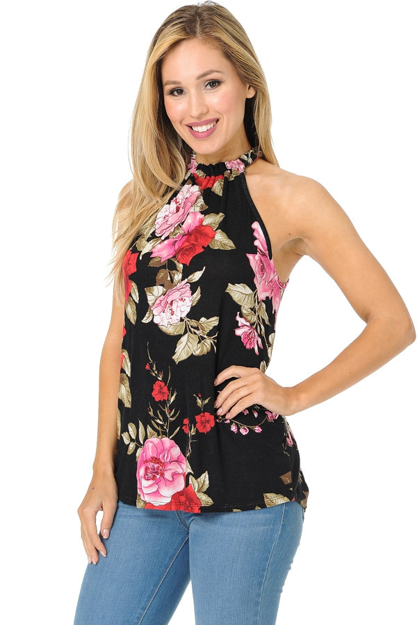 Summer Escape Floral Tank in Black - MIA Boutique LLC