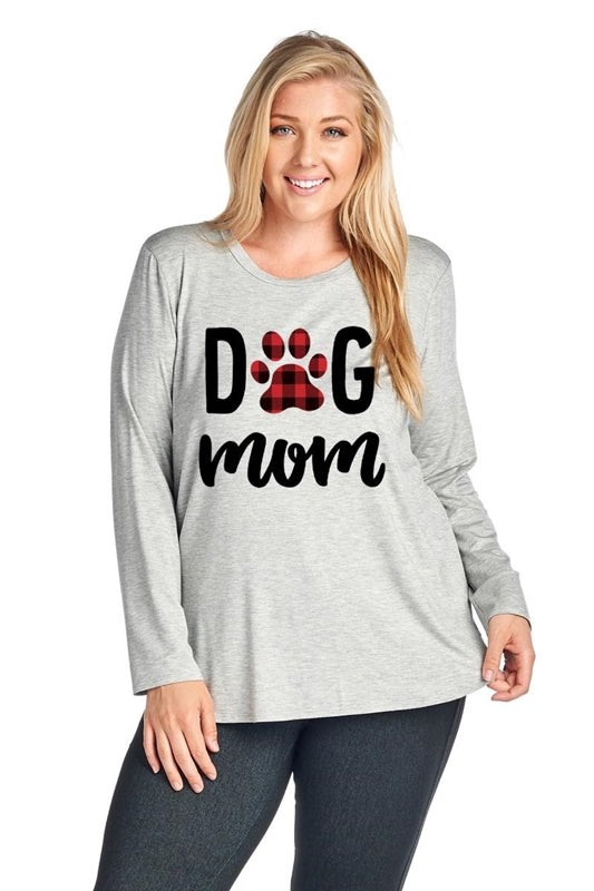Dog Mom Plaid in Heather Grey - Curvy - MIA Boutique LLC