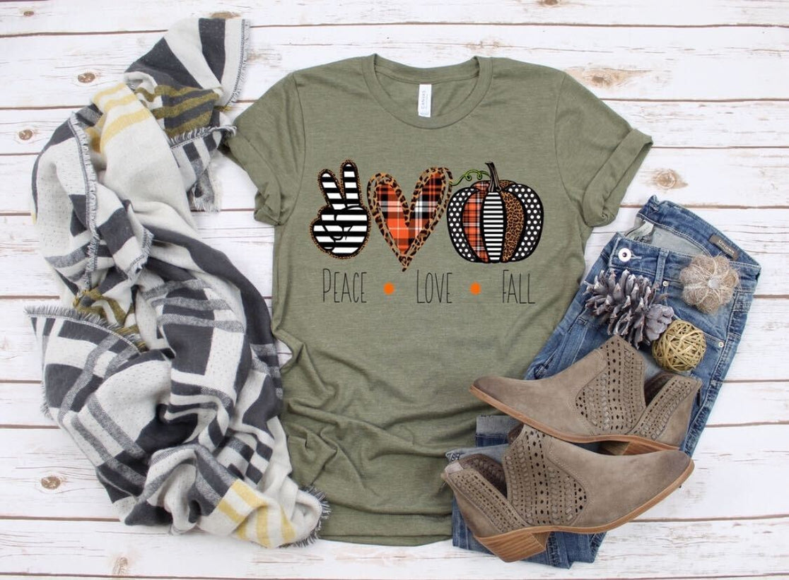 Peace, Love, Fall Graphic Tee in Olive - Curvy