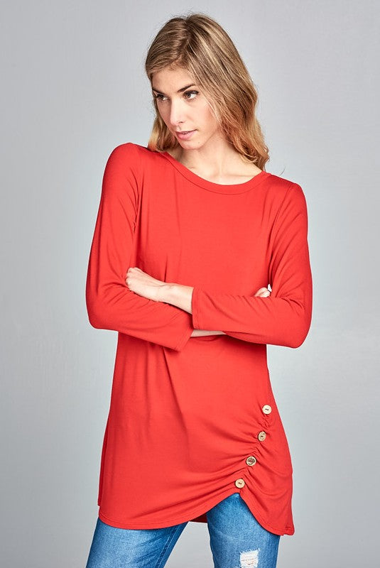 Button Up Tunic in Red - MIA Boutique LLC
