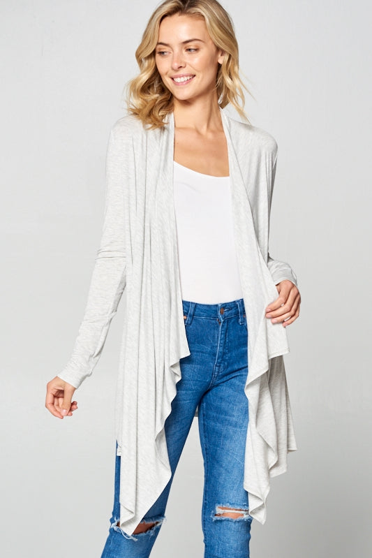 On The Mark Cascade Cardigan in Heather Grey - Top - MIA Boutique LLC
