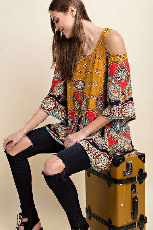 Going My Own Way Tunic in Mustard - MIA Boutique LLC