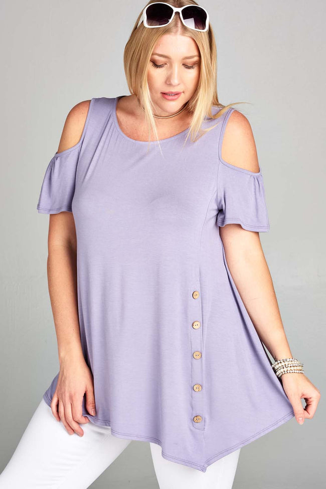 All the Right Buttons Tunic in Lavender - Curvy - Top - MIA Boutique LLC