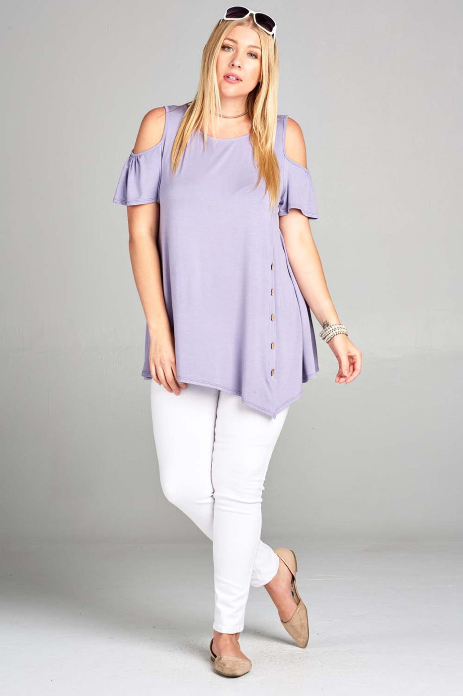 All the Right Buttons Tunic in Lavender - Curvy - MIA Boutique LLC