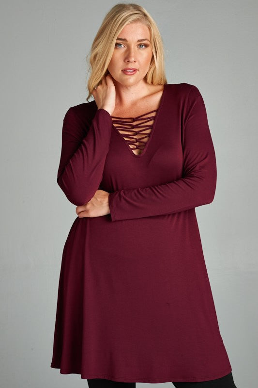 Twist and Shout Tunic in Burgundy - Curvy - Top - MIA Boutique LLC