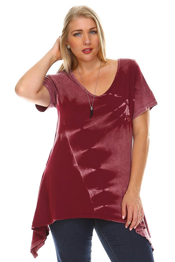 Vintage Vibes Tie Dye Tunic in Burgundy - Curvy - Top - MIA Boutique LLC