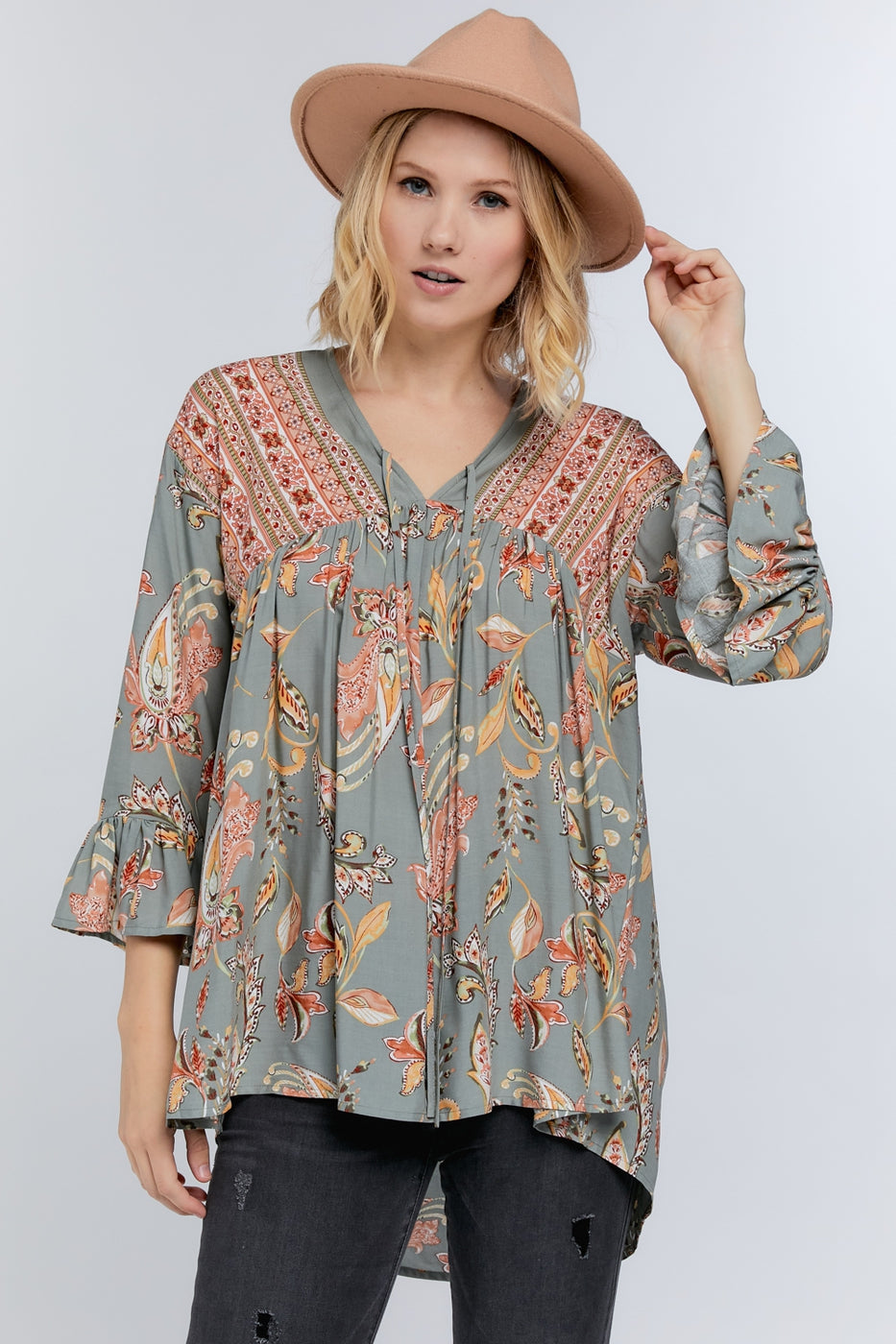 Got Your Attention Tunic in Sage
