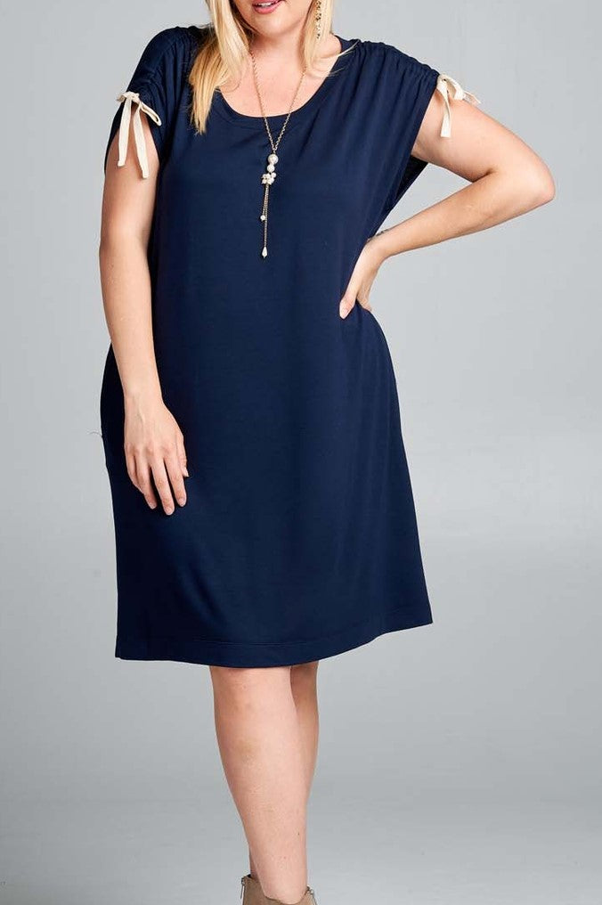 It's a Good Day Tunic Dress in Navy - Curvy - Dress - MIA Boutique LLC