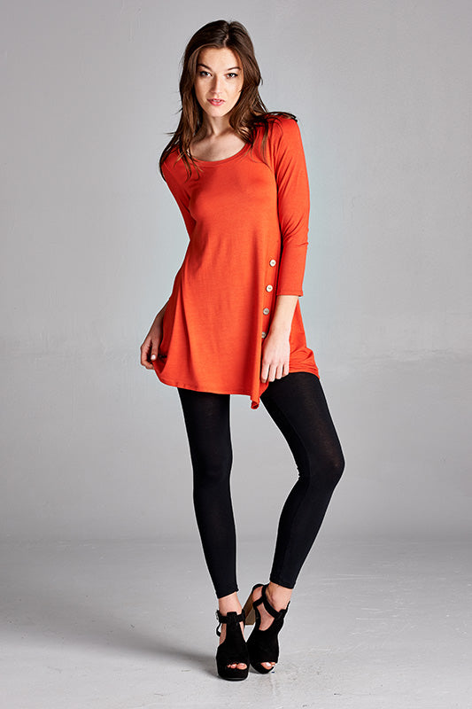 On The Button Tunic Misses in Rust - MIA Boutique LLC