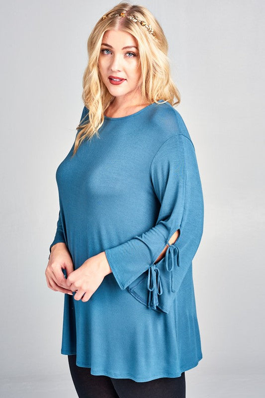 Time of My Life Tunic in Antique Blue - Curvy - Top - MIA Boutique LLC
