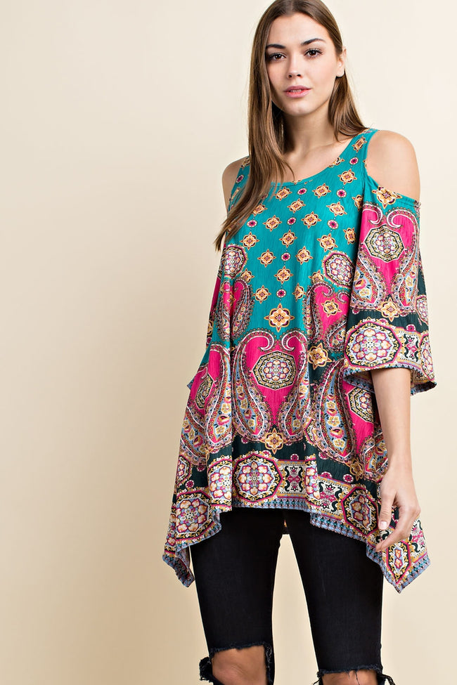 Going My Own Way Tunic in Turquoise - MIA Boutique LLC