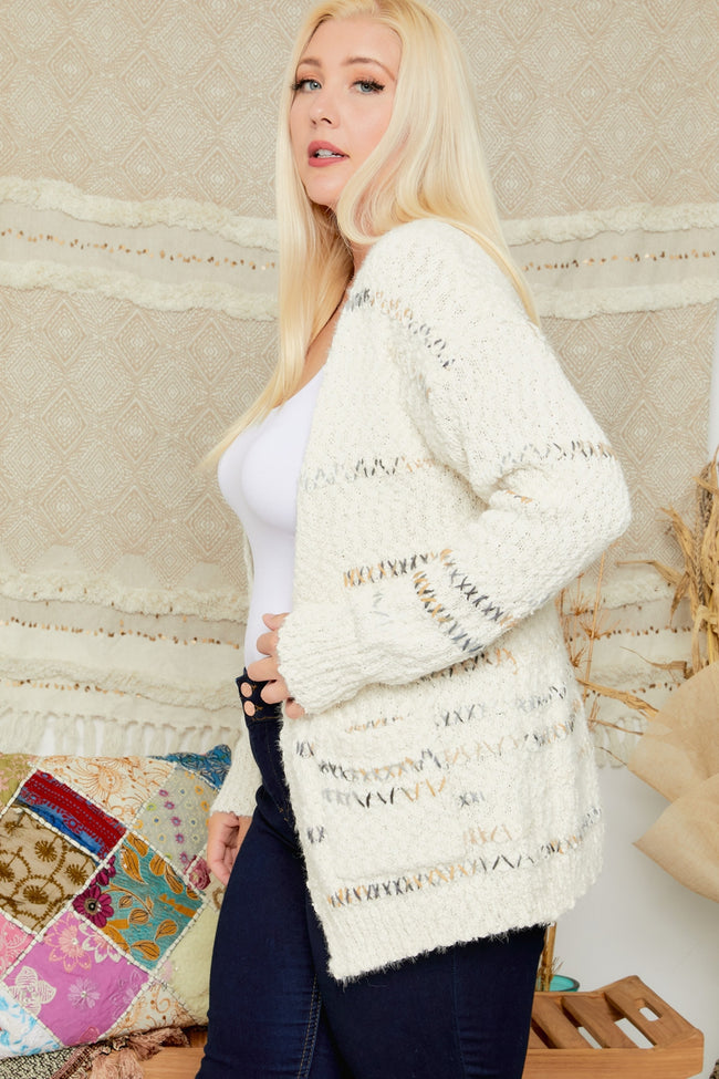 Let's Curl Up Together Cardigan in Ivory - Curvy