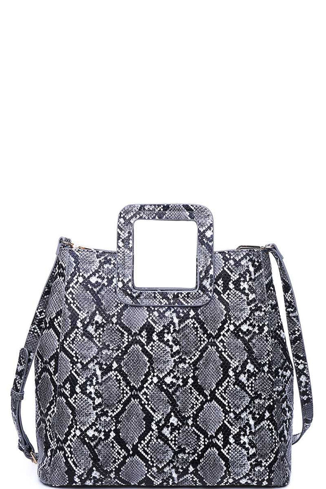 Going Places Snake Print Handbag in Black - MIA Boutique LLC